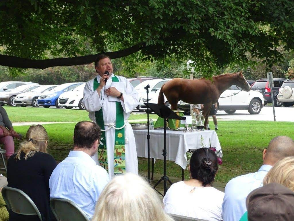 Kevin and horse during service